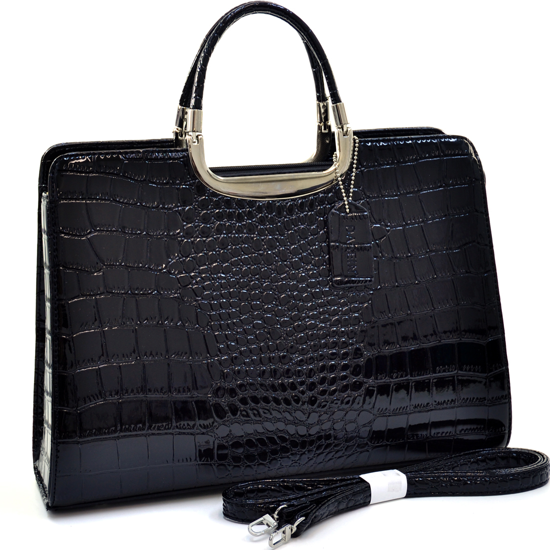 Dasein® Patent Shine Croco Fashion Briefcase