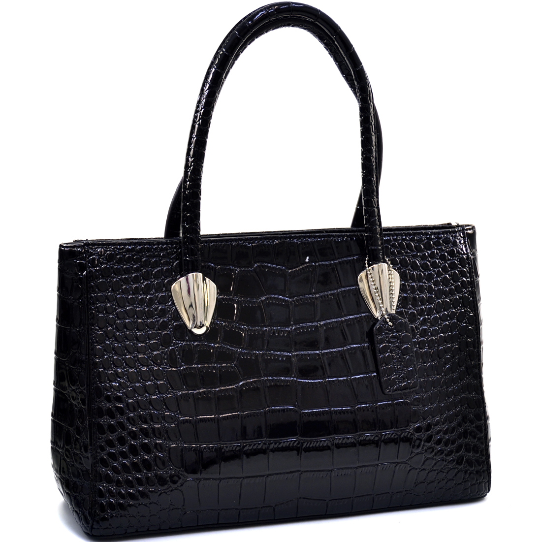 Dasein® Sleek Patent Croco Shoulder Bag