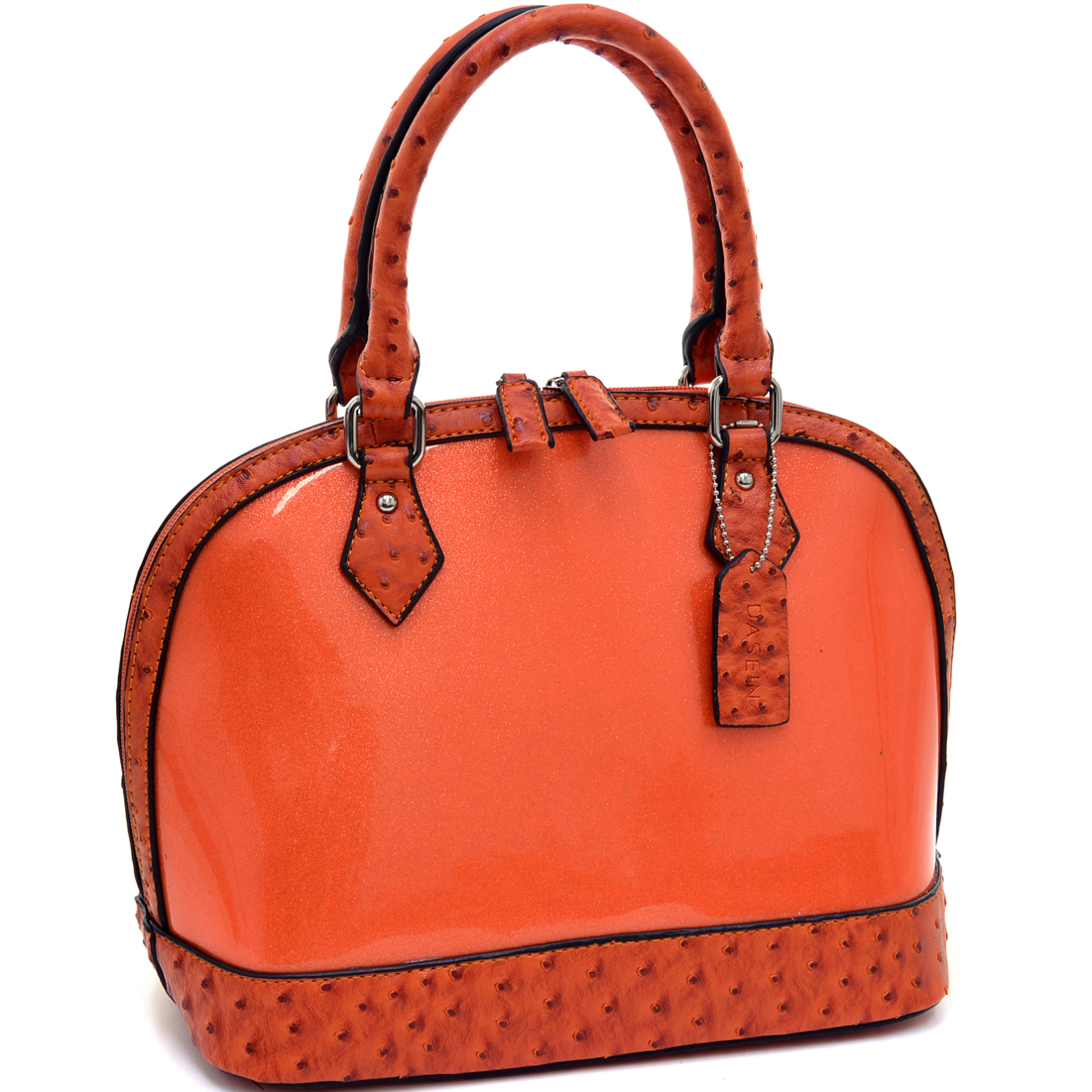 Dasein® Glossy Glitter Zip Around Satchel With Ostrich Trim