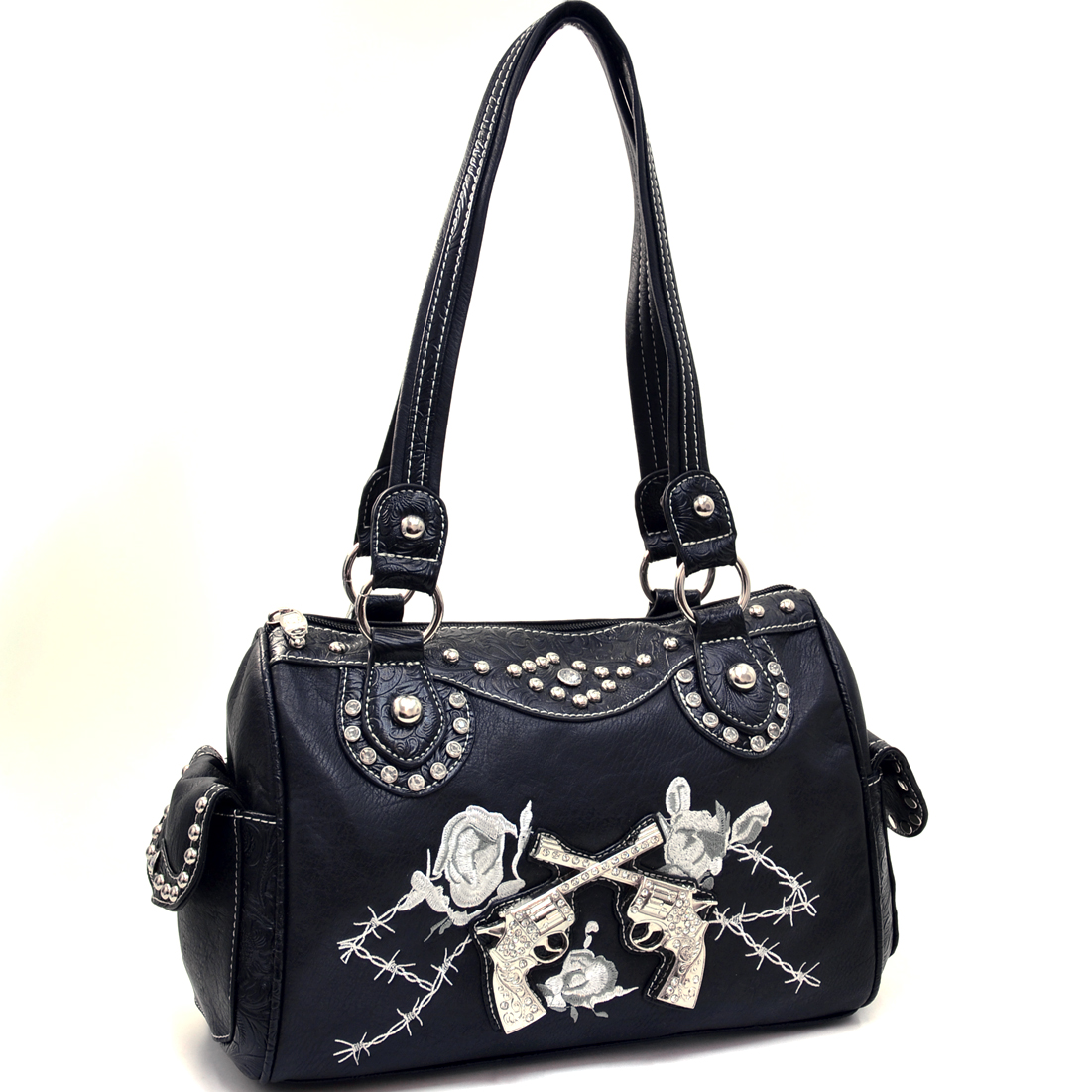 Western Rhinestone Six Shooter Barrel Shoulder Bag With Floral Trim
