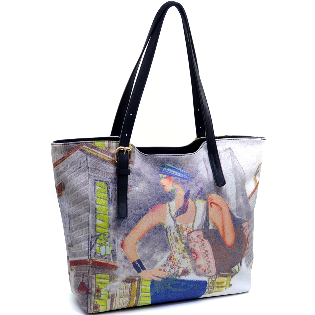 Fashion Tote Bag with Vintage Lady Print