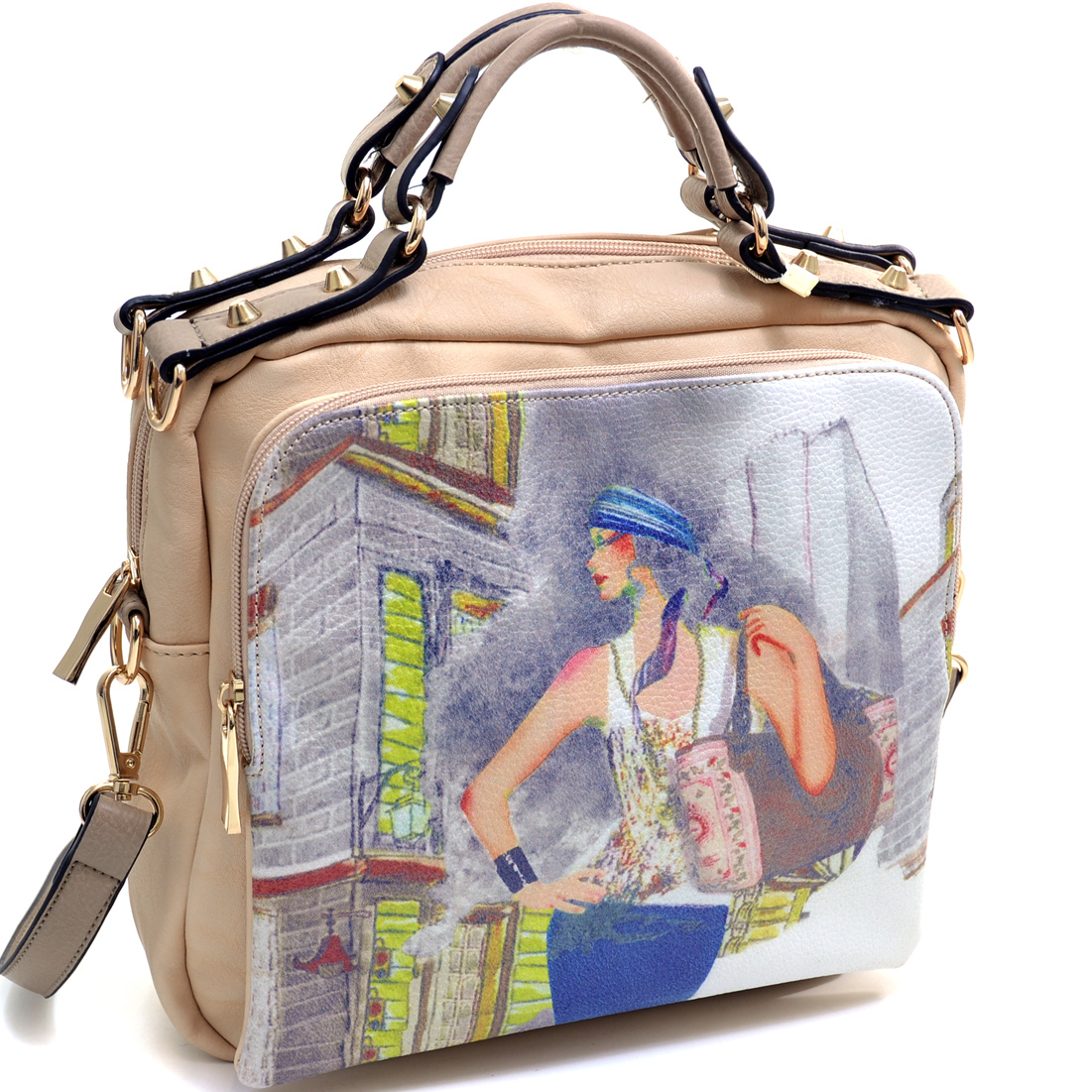 Chic Satchel Bag with Vintage Lady Print