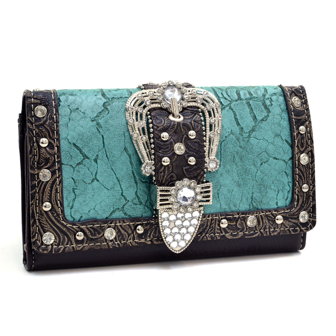 Rhinestone Buckle Western Wallet With Floral Texture Trim