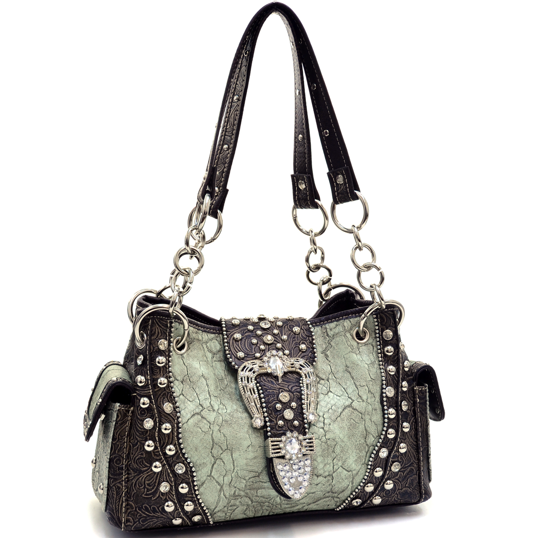 Classic Rhinestone Studded Western Shoulder Bag With Floral Trim