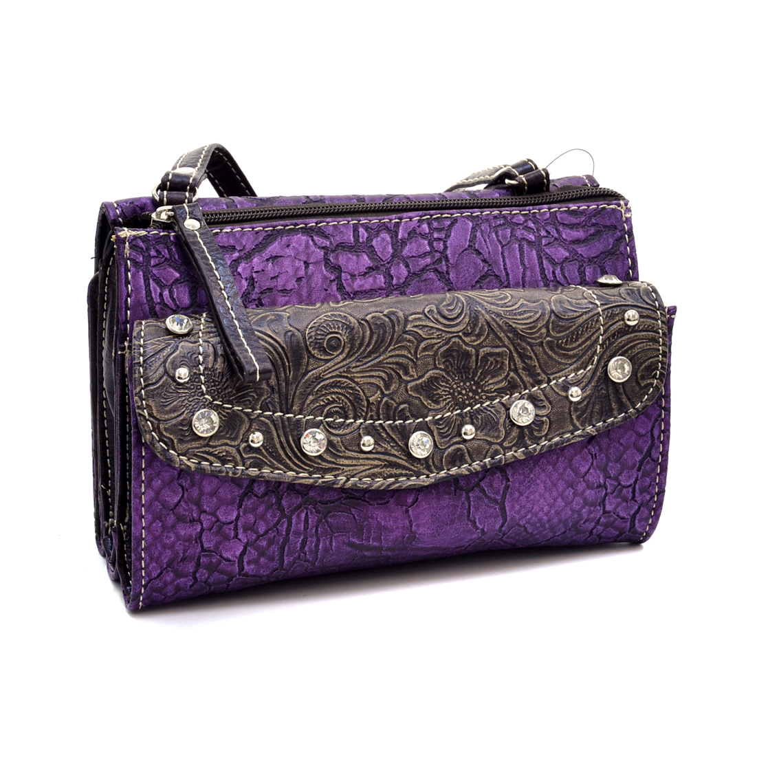 Western Crossbody Organizer With Wallet Compartment