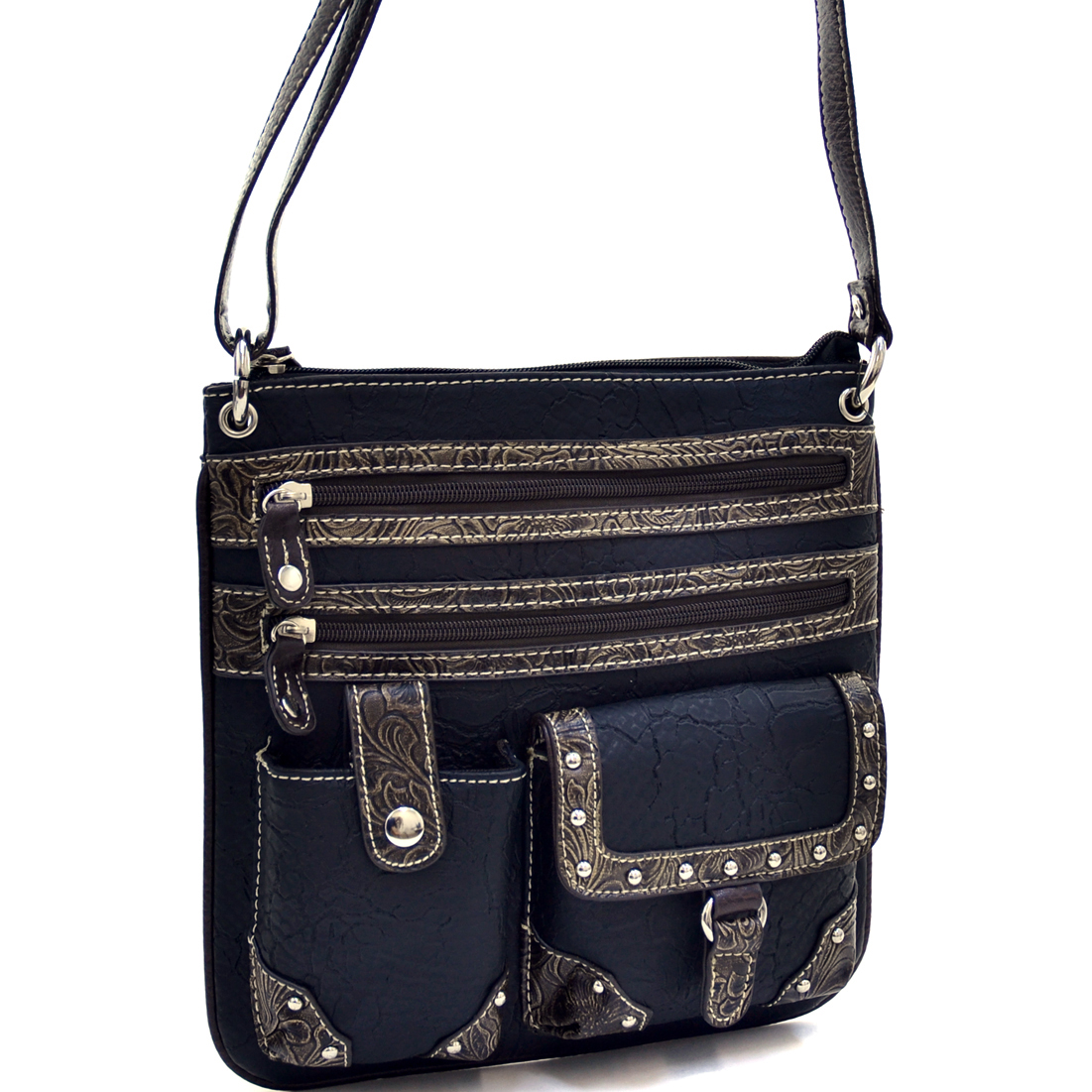 Classic Western Messenger Bag With Floral Texture Trim