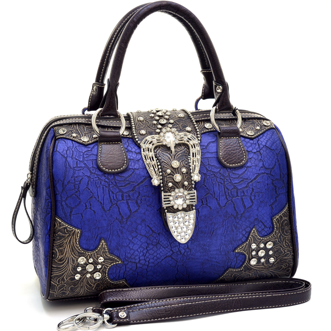 Classic Rhinestone Studded Western Barrel Satchel With Floral Trim
