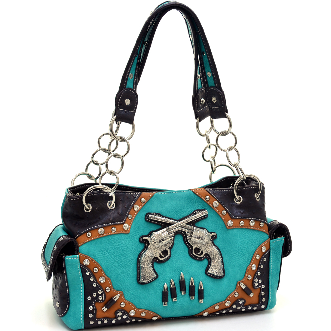 Western Studded Guns N' Bullets Shoulder Bag