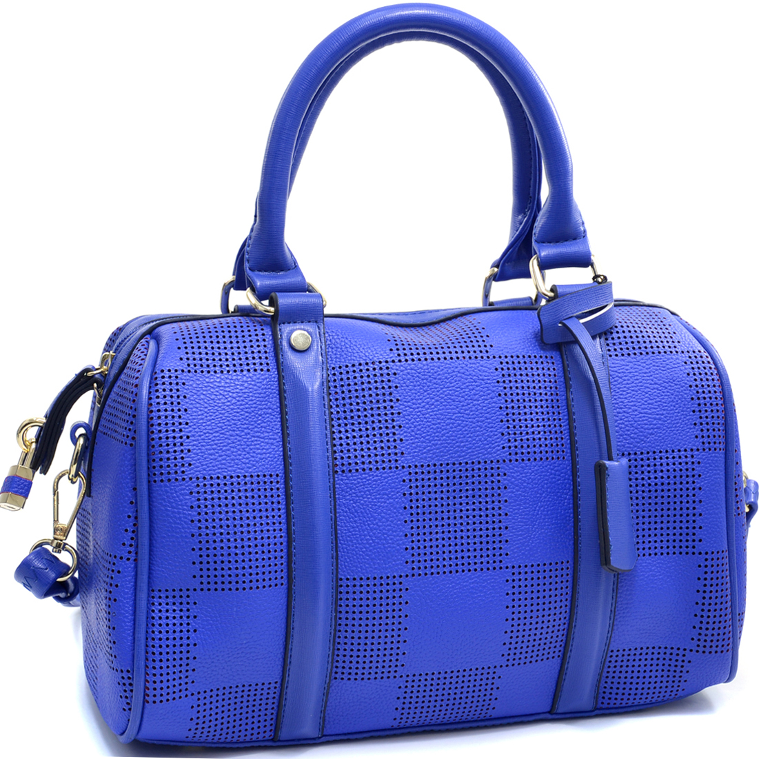 Isabelle® Checkered Cut Out Barrel Satchel