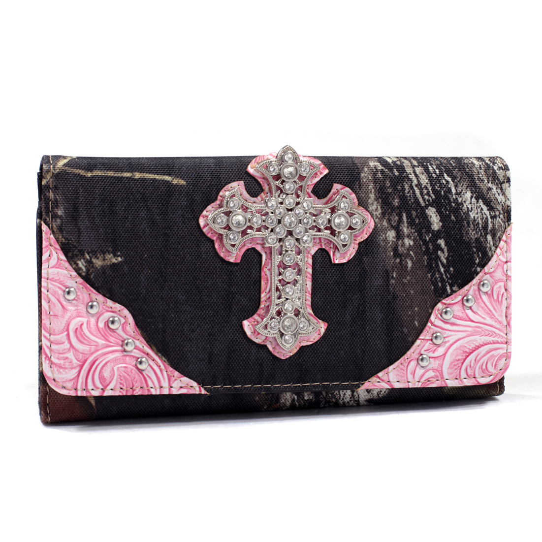 Mossy Oak® Camouflage Tri-fold Wallet With Rhinestone Cross & Floral Trim