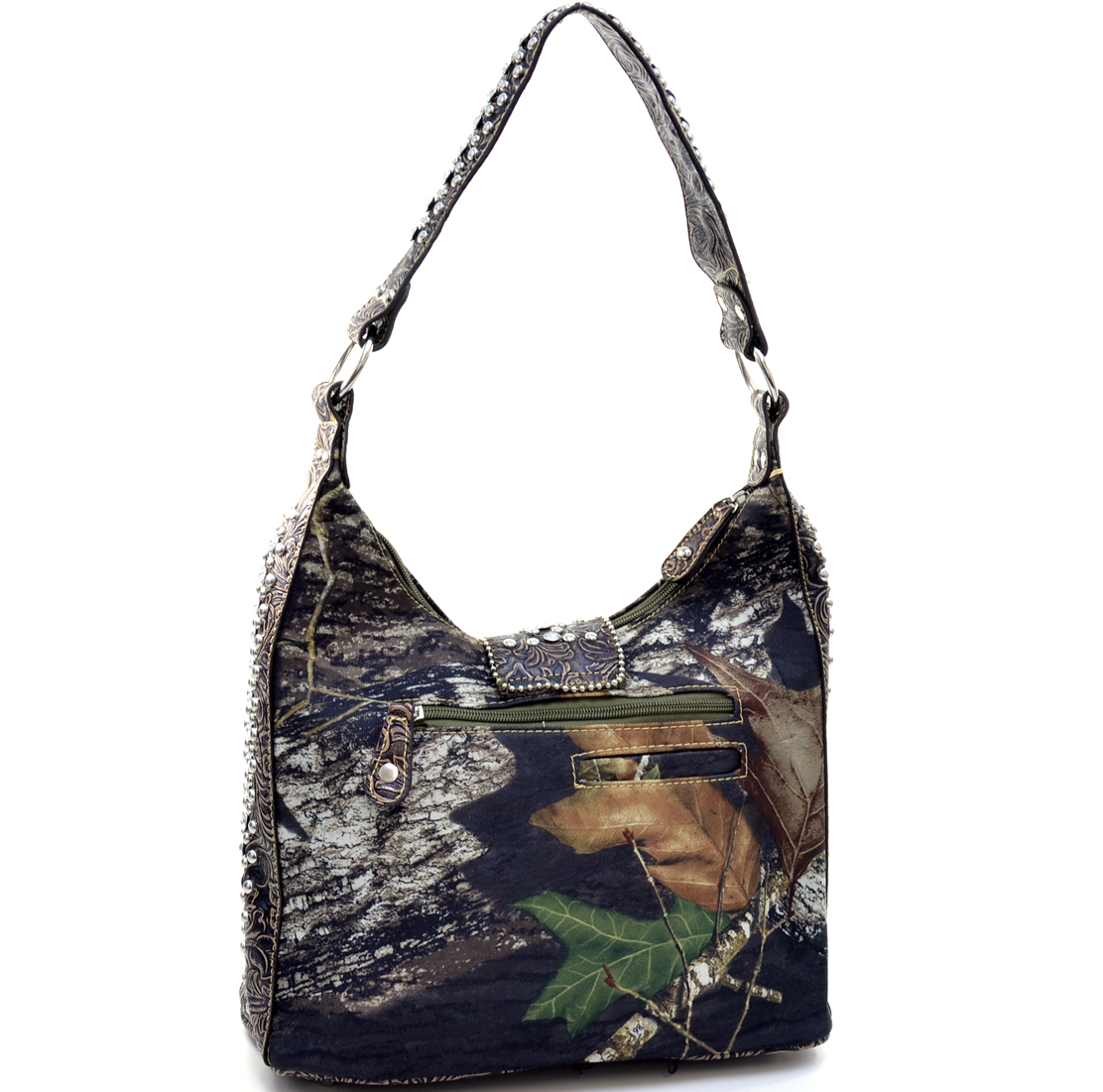 Mossy Oak Camo Hobo Bag with Rhinestone Buckle & Floral Trim