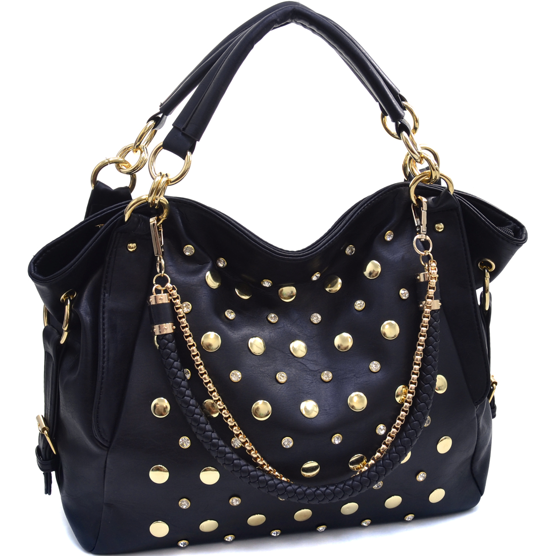 Rhinestone Gold Studded Satchel With Interchangeable Straps