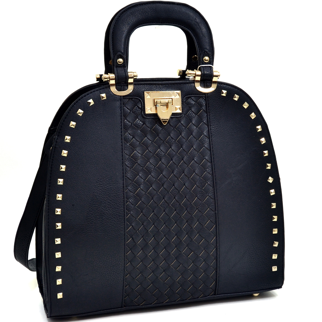 Tall Pyramid Studded Satchel With Woven Center Panel