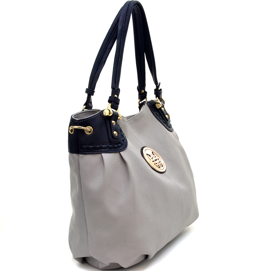 Two Tone Shoulder Bag With Gold Logo Accent
