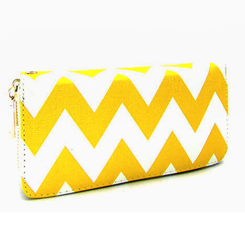 Chevron Printed Zip-Around Wallet With Wrist Strap