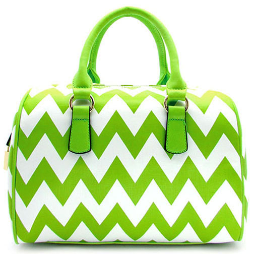 Chevron Printed Barrel Satchel