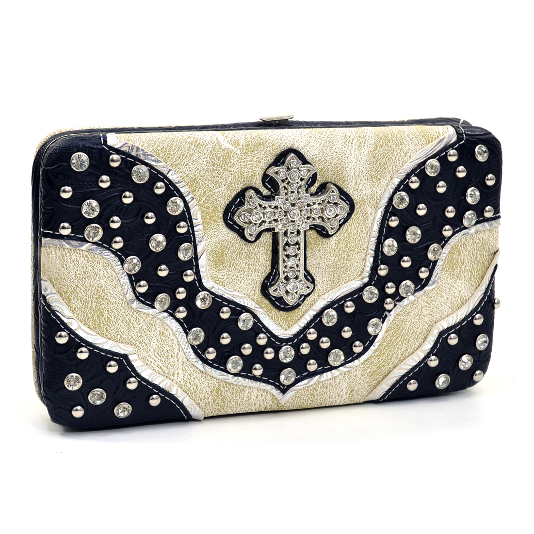 Rhinestone Studded Western Frame Wallet With Cross Accent And Floral Trim