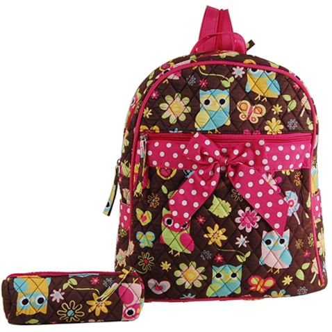 Owl and Flower Quilted Backpack w/ Convertible Shoulder Straps - Brown