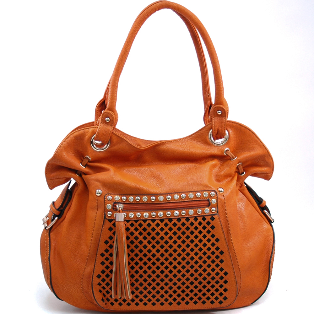 Belted Fashion Shoulder Bag with Rhinestone Studs & Front Pocket