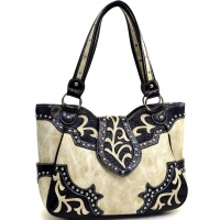 Rhinestone Studded Western Shoulder Bag With Leaf Design Buckle
