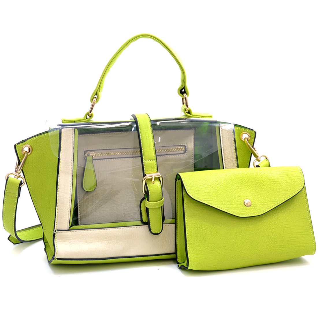 Two Tone Belted 2 in 1 Mini Jelly Satchel Bag