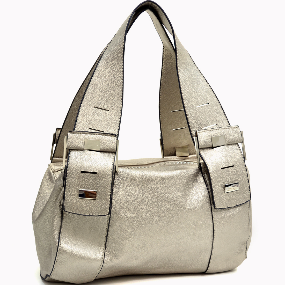 Silver Button Accent Shoulder Bag