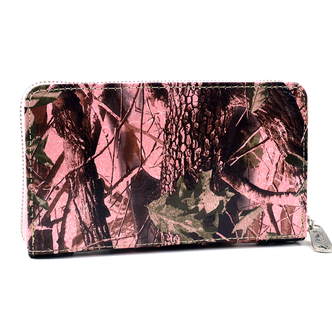 Montana West Cross Accent Ostrich Textured Western Wallet Studded crystals - Pink