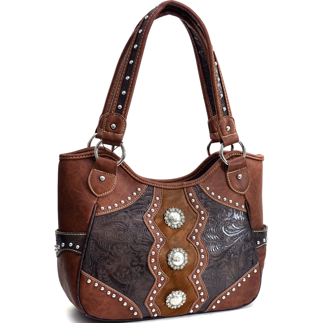 Montana West Floral Texture Western Shoulder Bag With Concho Accents