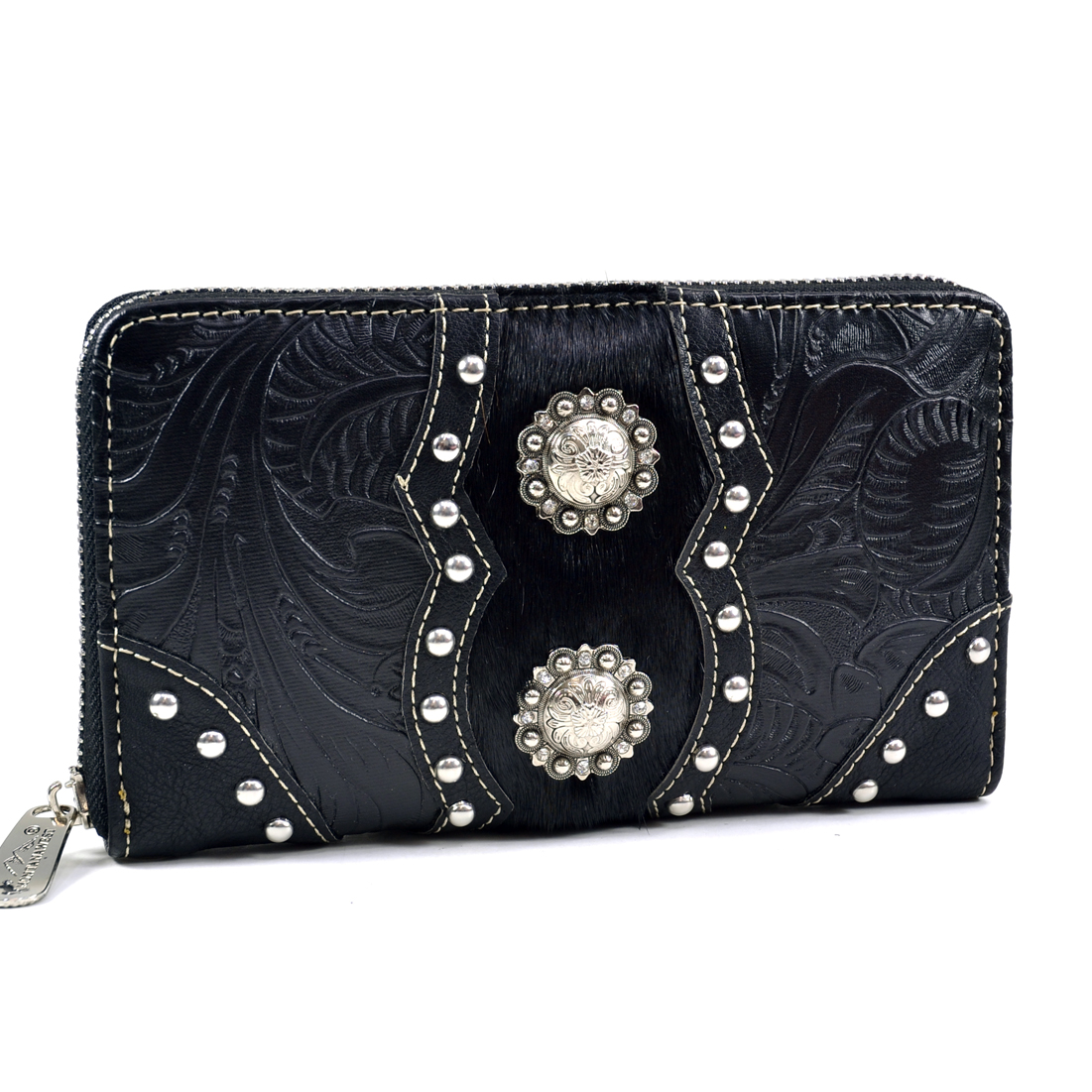 Montana West Concho Accent Floral Textured Western Wallet