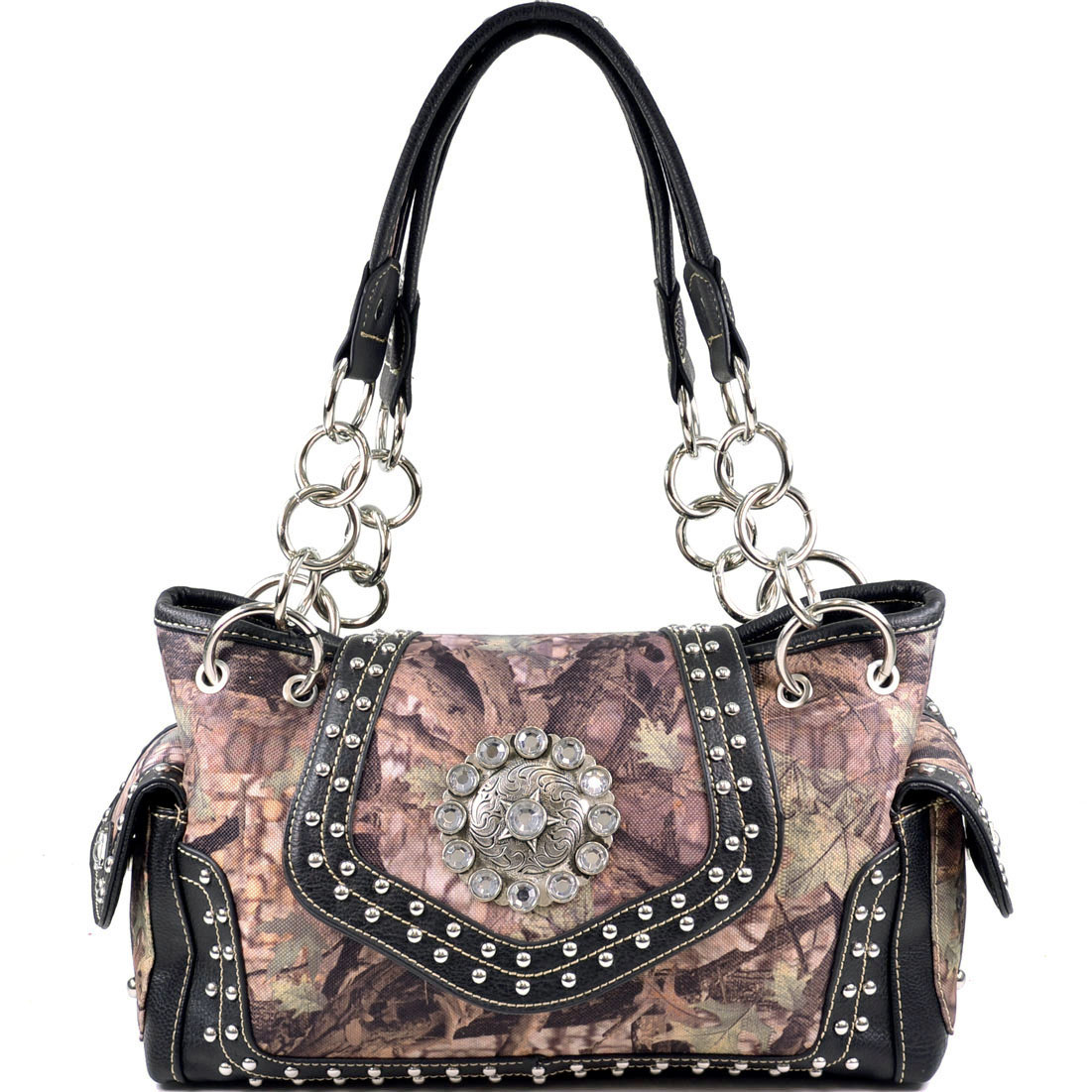Montana West Women's Concho Decorated Western Shoulder Bag on Camoflage with Black Trim