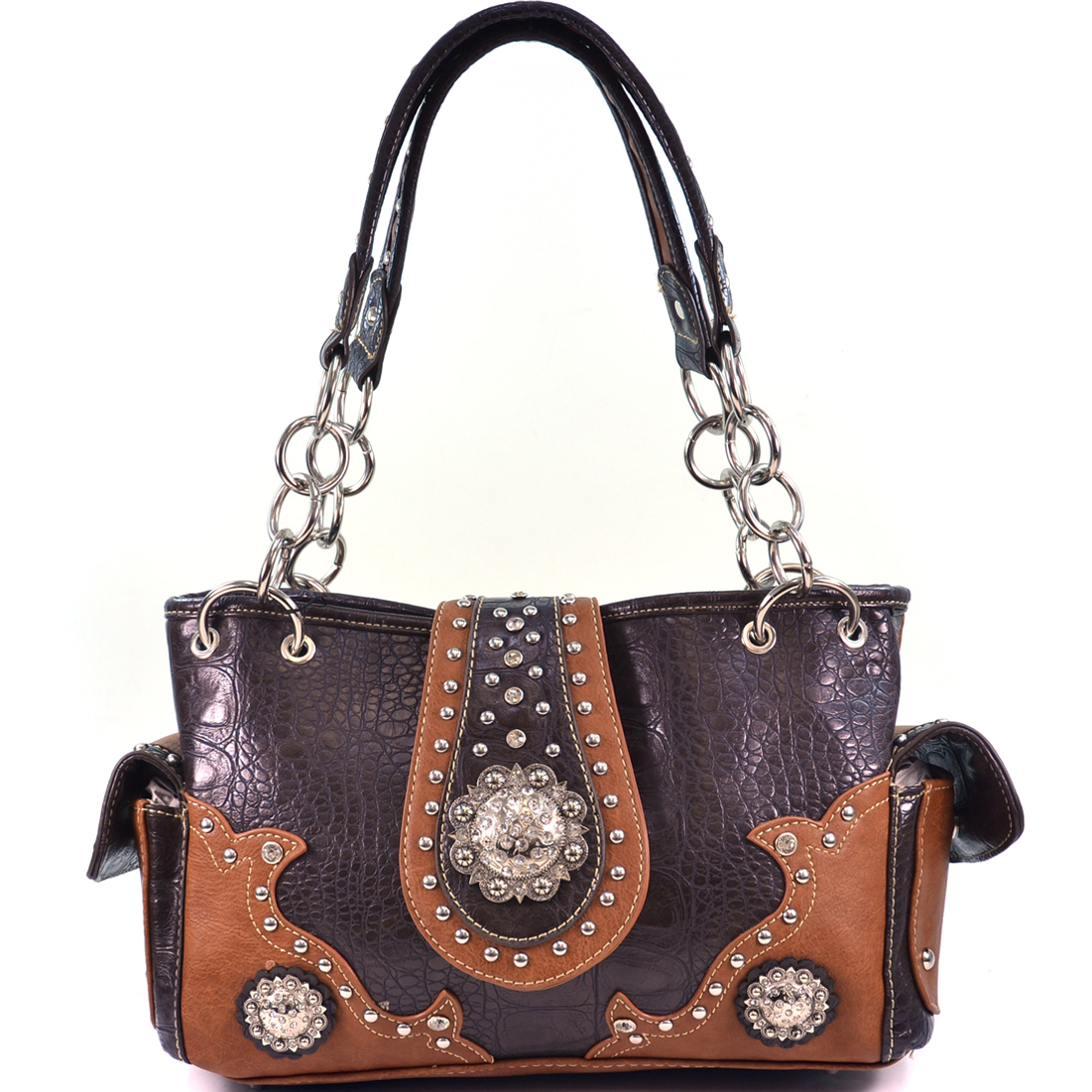 Montana West Textured Western Shoulder Bag with Concho Accents