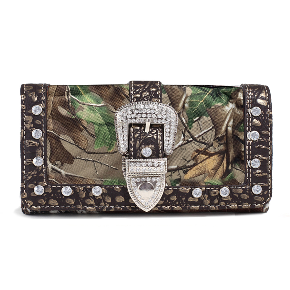 Realtree® Camouflage Tri-fold Wallet w/ Rhinestone Buckle & Croco Trim - Coffee