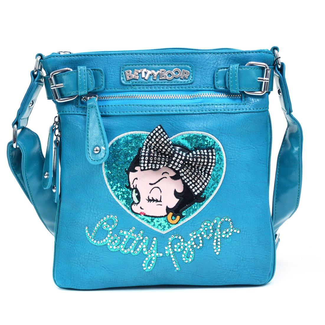 Classic Betty Boop® Messenger Bag w/ Rhinestones & Leather-like