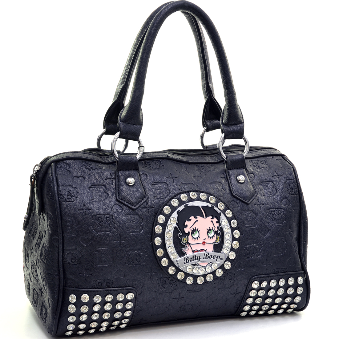 Classic Betty Boop® Satchel Bag with Embossed Logo & Rhinestone Accents