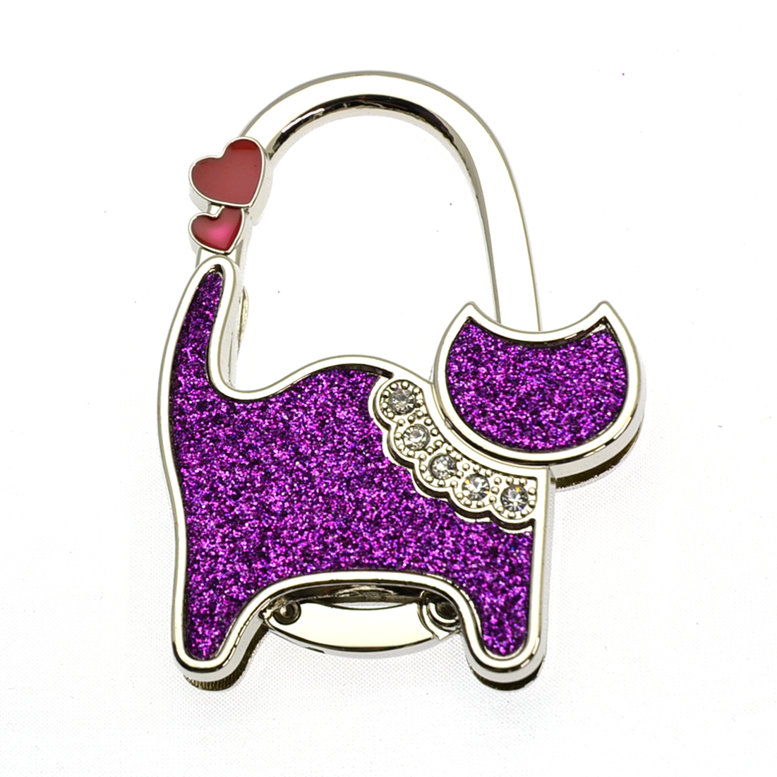Textured Metal Cat Shape Handbag Bag Purse Hanger Table Hook Shimmery