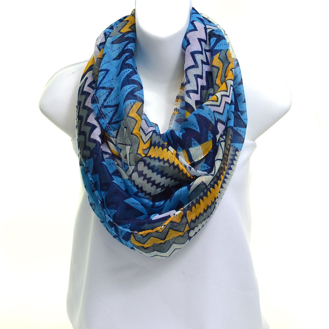 Sheer Free End Multi-Print Infinity Fashion Scarf