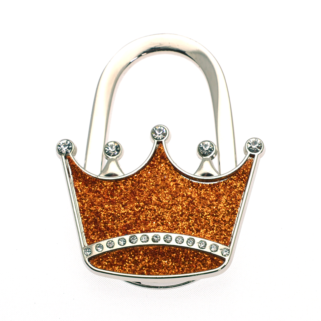 Textured Metal Crown Shape Handbag Bag Purse Hanger Table Shimmery  Blue