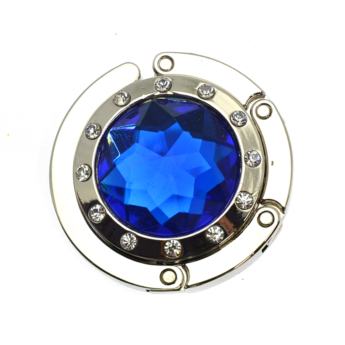 Textured Metal Diamond Shape Handbag Bag Purse Hanger Table Hook  Blue