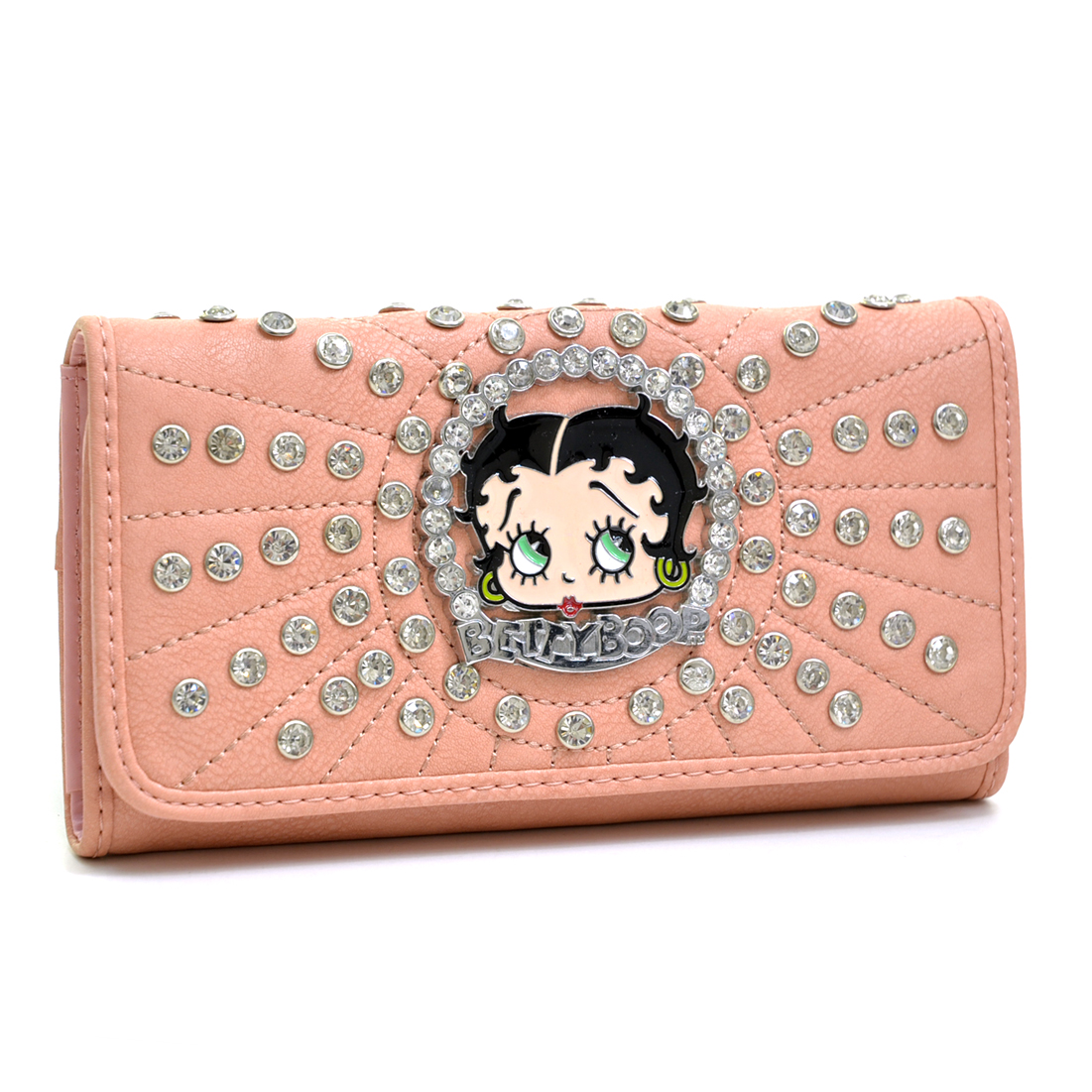 Betty Boop® Rhinestone Decor Checkbook Wallet with Stitches