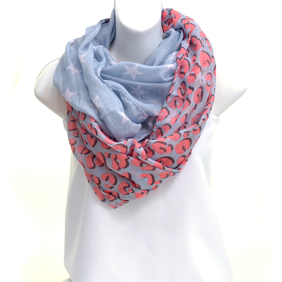 Sheer Abstract Leopard Print Loop Scarf