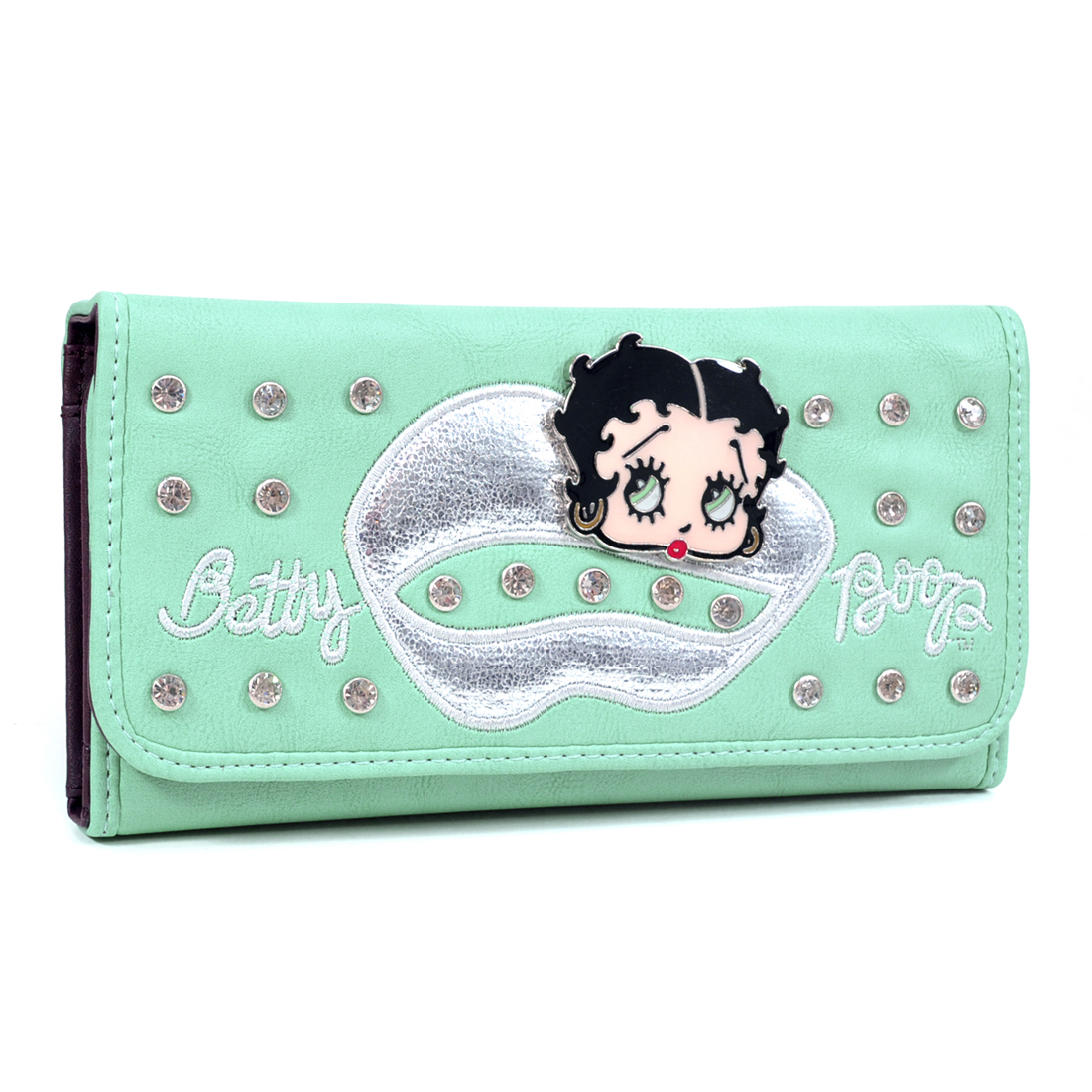 Lip Shap Decorated Betty Boop® Rhinestone  Checkbook Wallet
