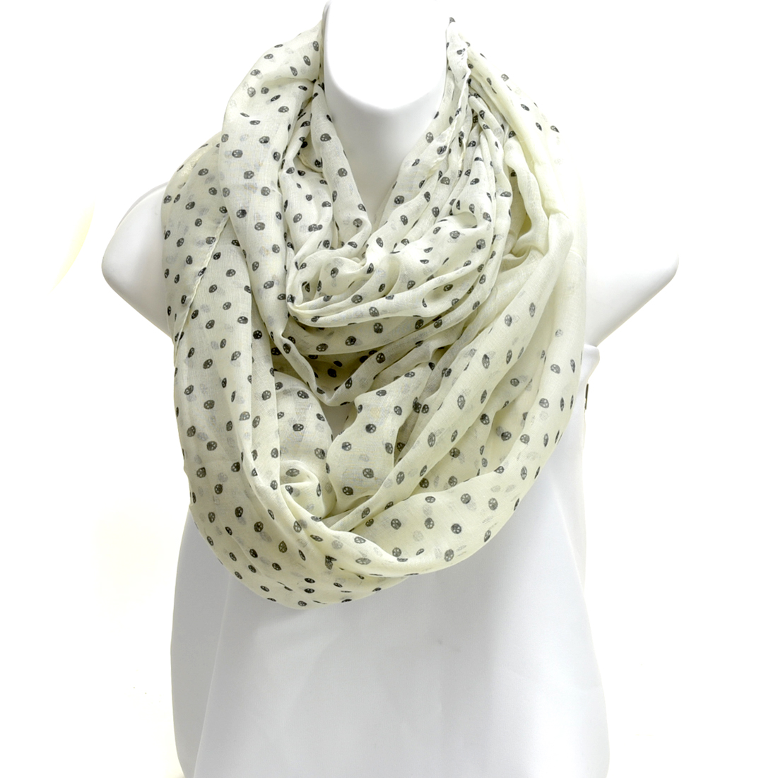 Sheer Free End Dotted Scarf