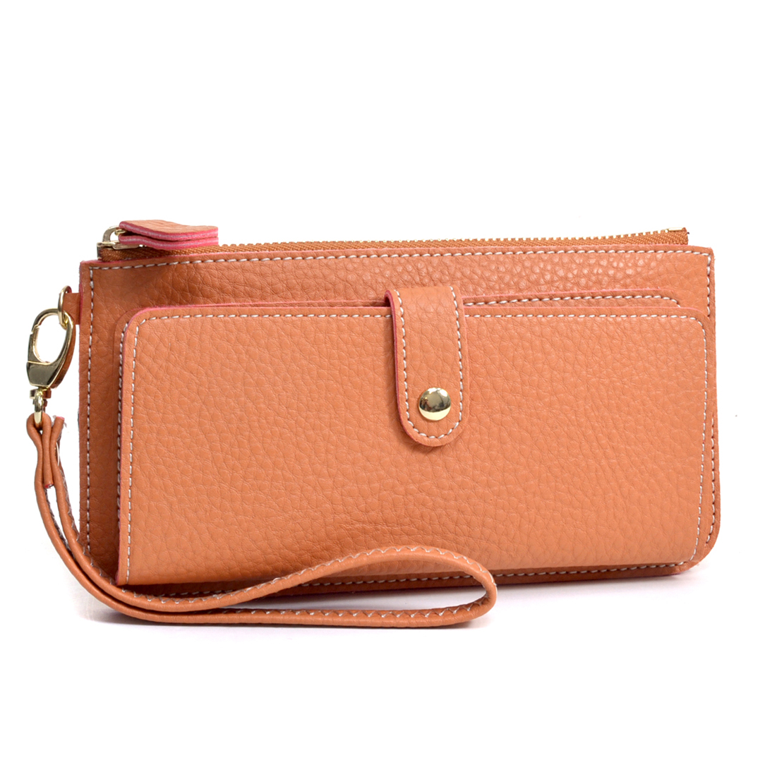 Faux Leather Clutch Wristlet with Decorative Stitching