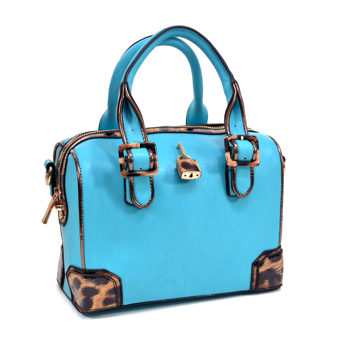 Leopard Accented Satchel Bag with Removable Shoulder Strap