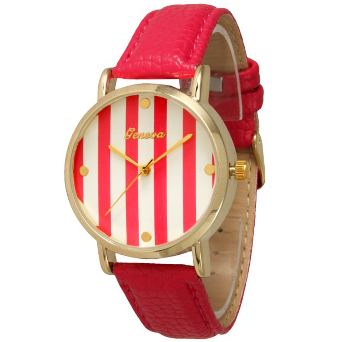 Faux Leather Striped Watch