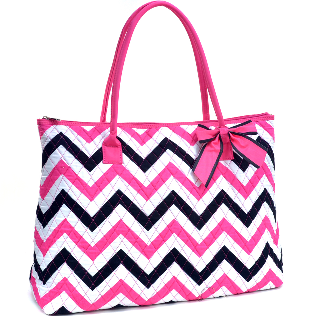 Oversized Quilted Tote Bag with Optional Bow Decor in Chevron Print