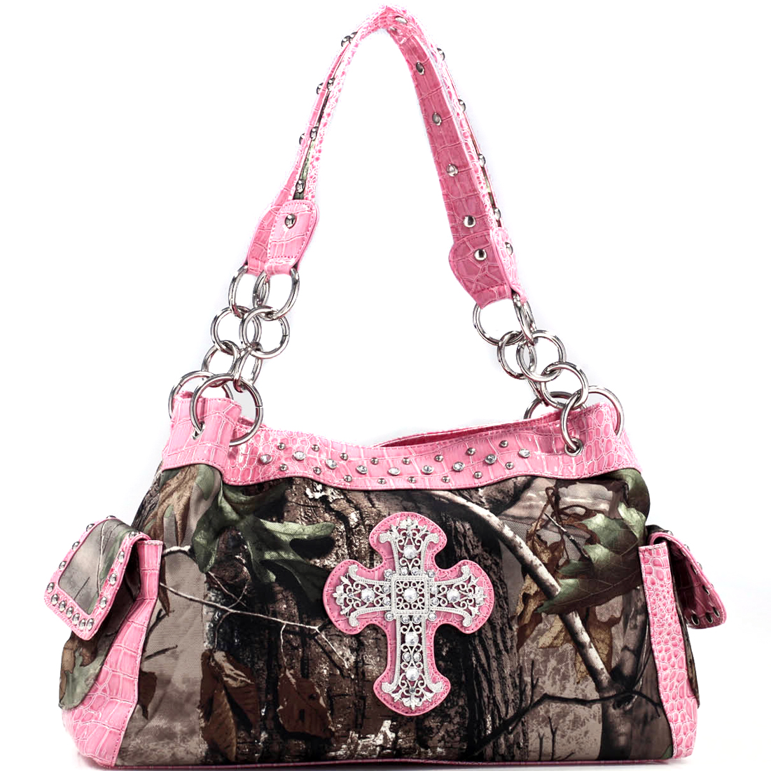 Realtree® Camouflage Shoulder Bag Handbag w/ Rhinestone Cross - Pink