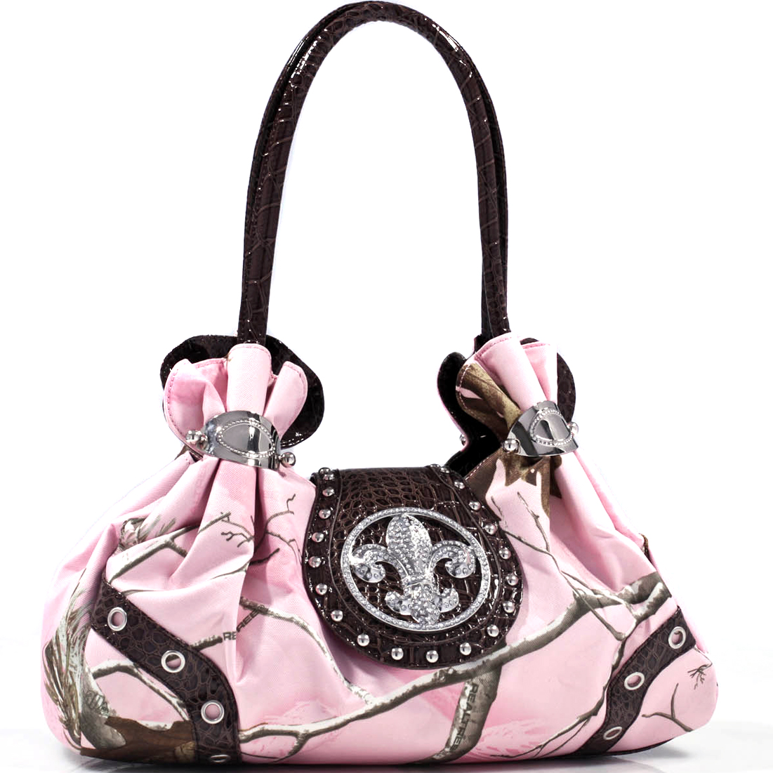 Realtree ® Studded camouflage satchel bag with rhinestone fleur de lis - Pink Camo Coffee Trim