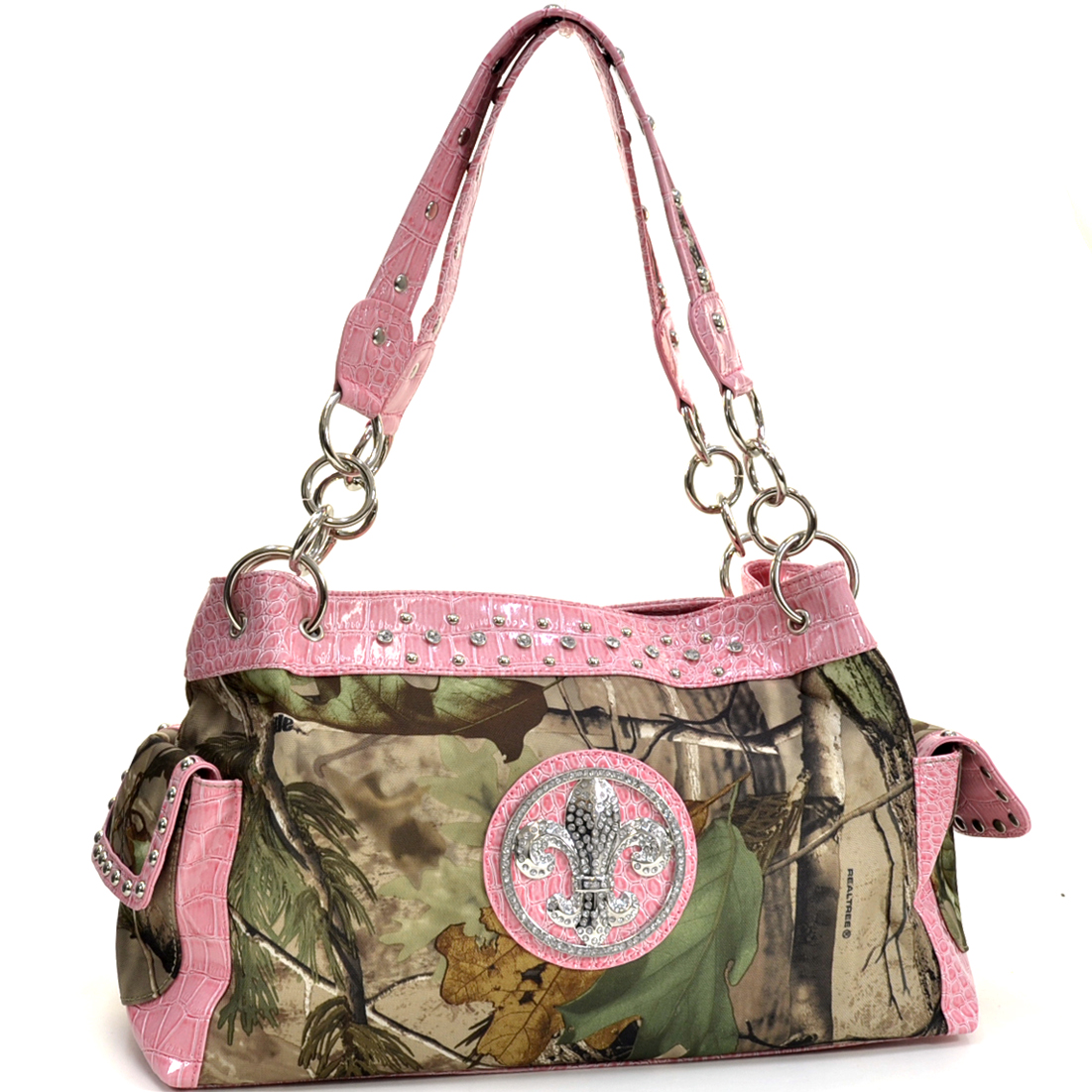 Realtree® Camouflage Fleur de Lis Accent Shoulder Bag Handbag - Light Pink
