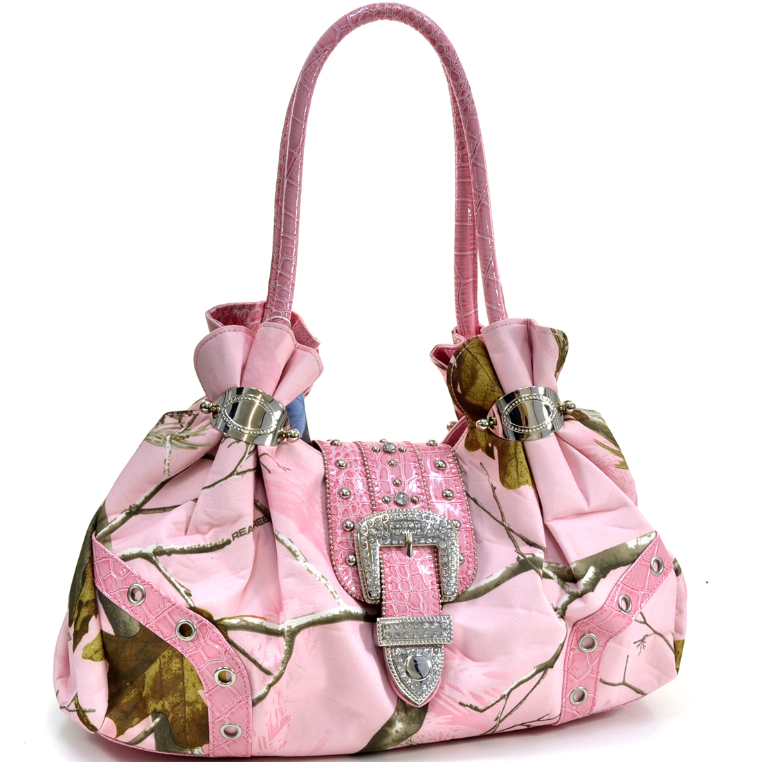 Realtree ® Camouflage Shoulder Bag w/ Rhinestone Buckle Accent - Camo/Light Pink